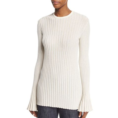 Bell-Sleeve Ribbed Pullover Top