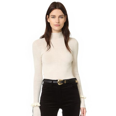Serafini Sweater With Ruffle Sleeves