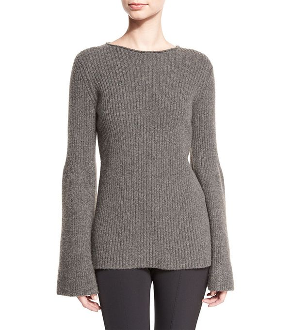 The Row Atilia Ribbed Bell-Sleeve Sweater