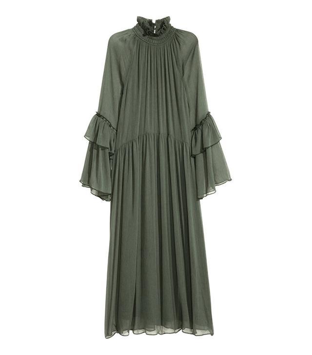 H&M Crinkled Ruffled Dress