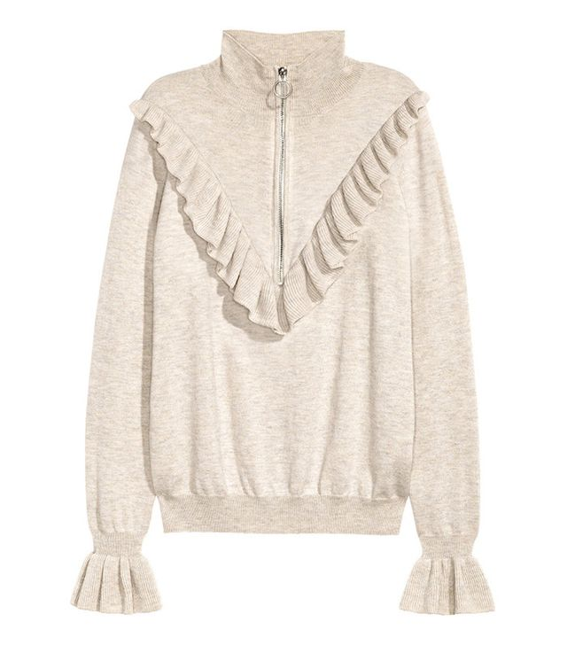 H&M Fine-Knit Sweater With Ruffle