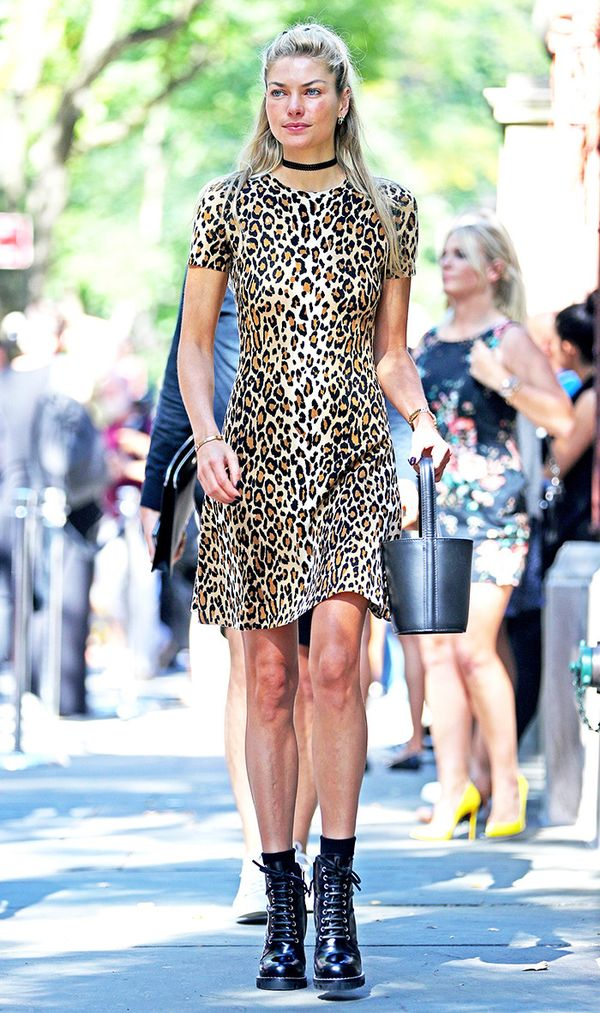 Jessica Hart wearing a leopard dress.