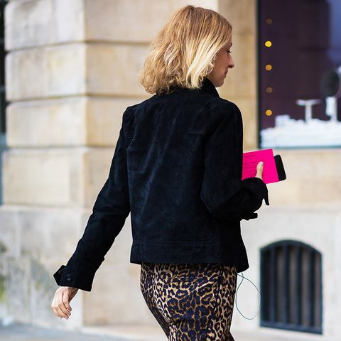 Leopard pants and flats.