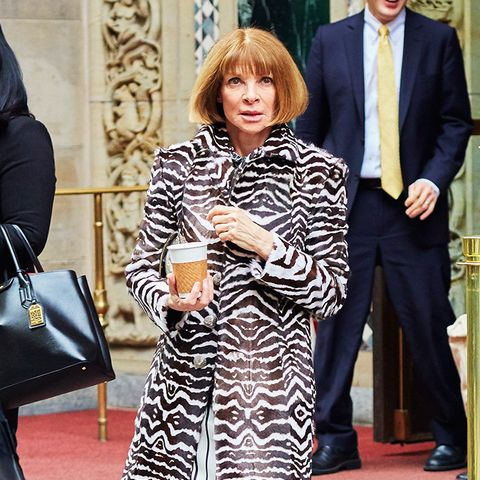 Anna Wintour wearing a zebra print coat.