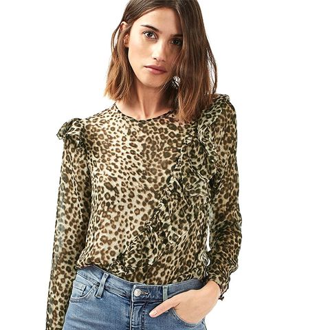 Ruffle Animal Long Sleeve Blouse