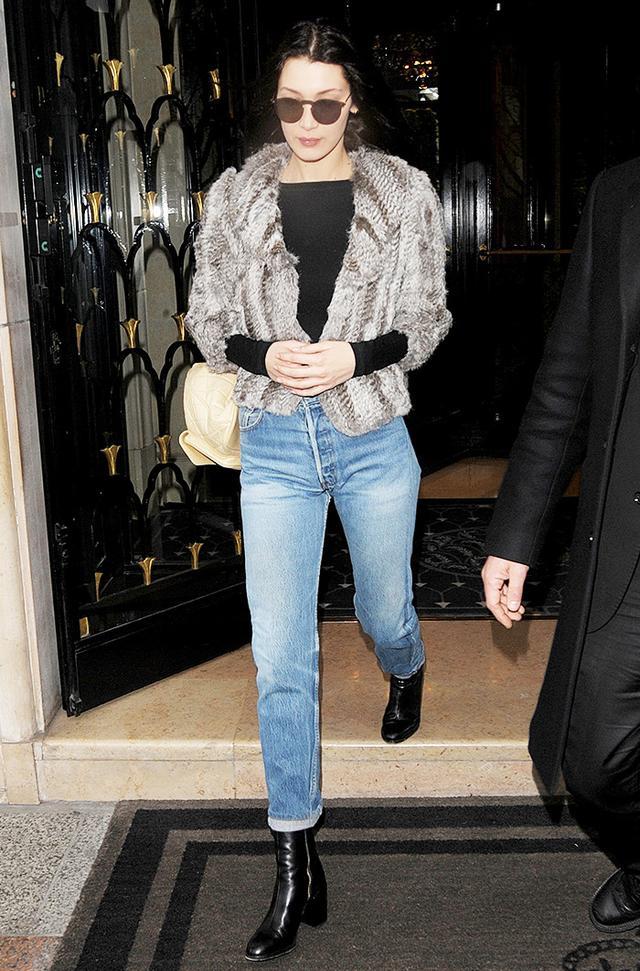 Bella Hadid at George V Hotel during Paris Fashion Week