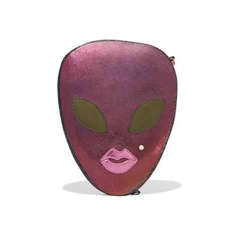 Alienora Iridescent Textured-Leather Clutch