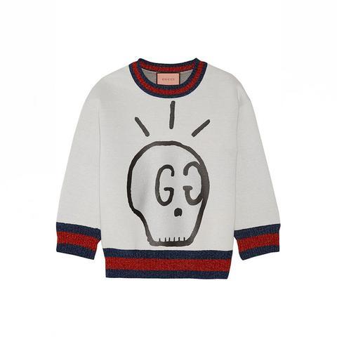 Metallic-Trimmed Printed Neoprene Sweatshirt