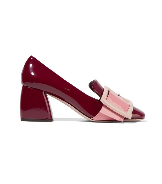 Miu Miu Buckled Pantent-Leather Pumps