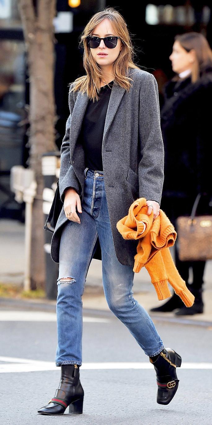 Dakota Johnson Gucci Leather Ankle Boots 2016