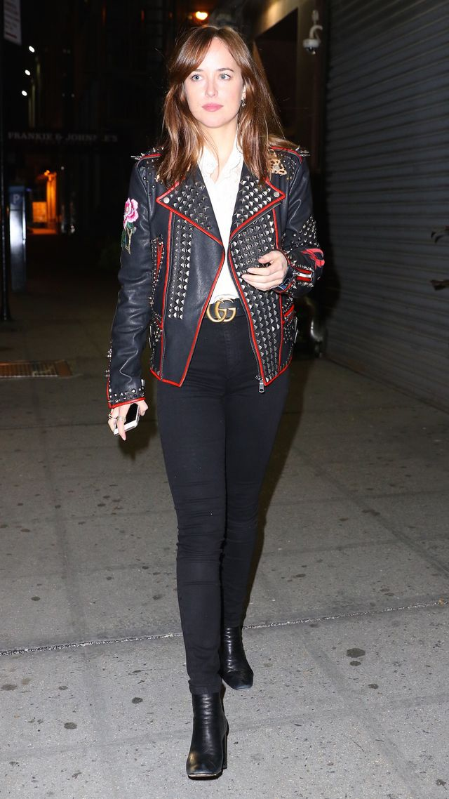On Dakota Johnson:Custom Gucci jacket; Gucci Leather Belt($420). Johnsonpulled off the ultimate fall night-out look, wearing black booties, high-waisted skinny jeans, and a cool...