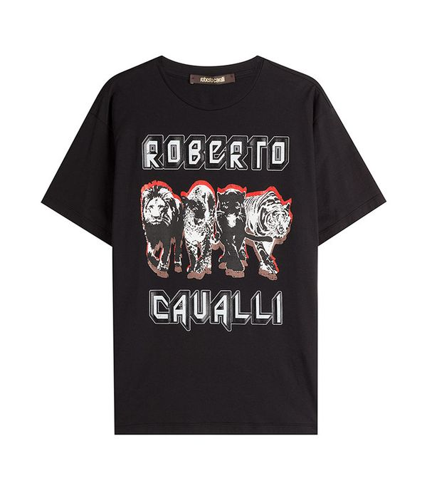 Printed Cotton T-Shirt by Roberto Cavalli