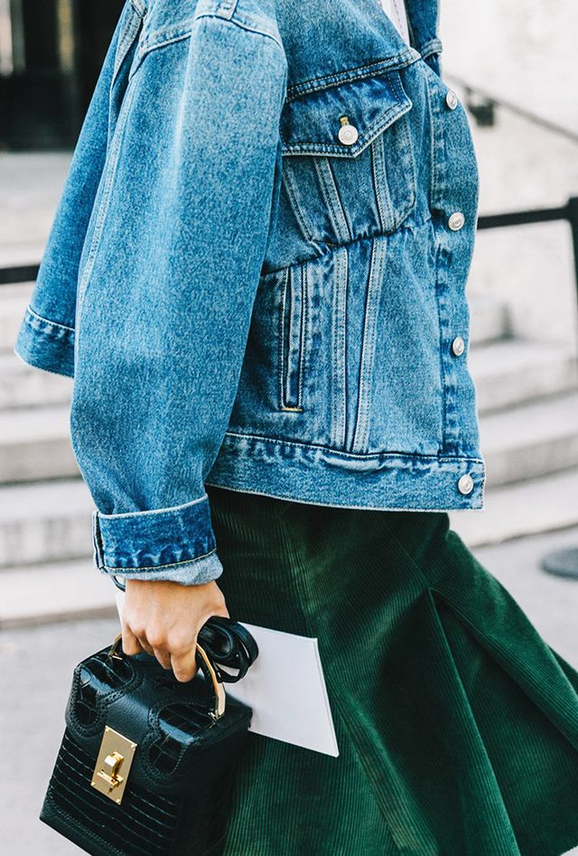 Street style examples of the corduroy trend.