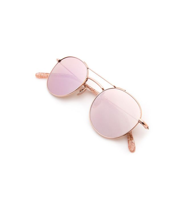 Krewe Orleans Rose Gold Titanium + Camellia Sunglasses