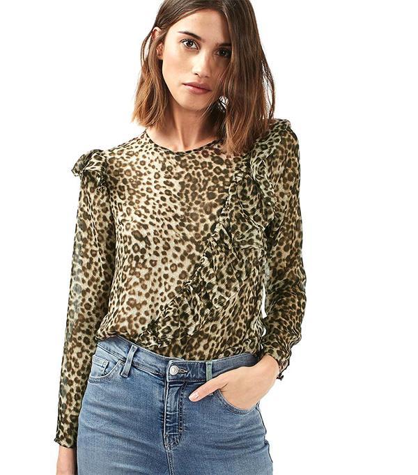 Topshop Ruffle Animal Long Sleeve Blouse