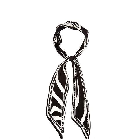 Zebra-Print Super-Skinny Silk Scarf