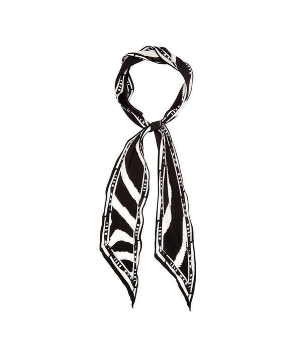 Rockins Zebra-Print Super-Skinny Silk Scarf