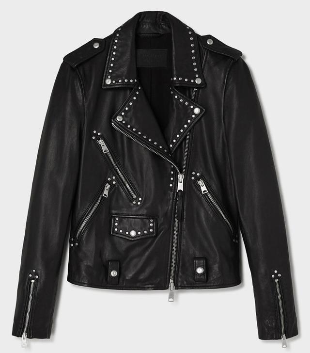 AllSaints Vettese Studed Leather Biker Jacket