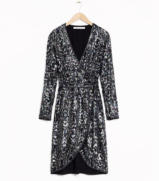 & Other Stories Sequinned Silk Dress