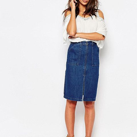 Denim Zip Front Pencil Skirt