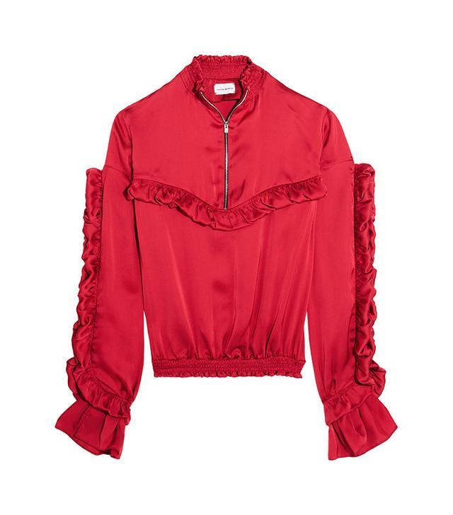 Magda Cutrym Granada Ruffled Silk-Satin Blouse