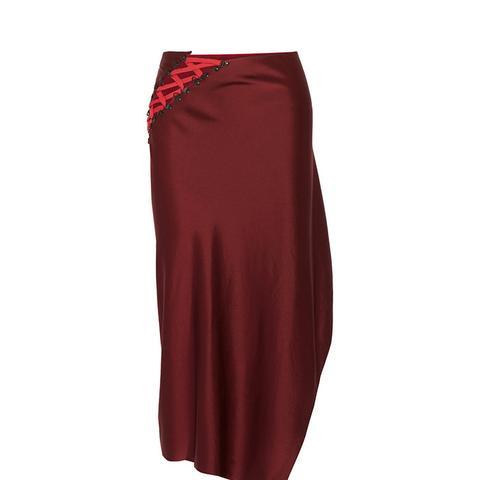 Lace-Up Satin Midi Skirt
