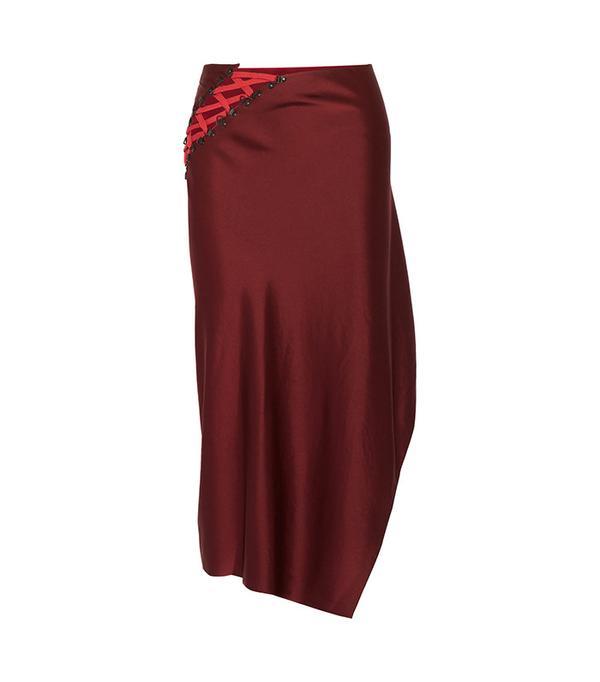 DKNY Lace-Up Satin Midi Skirt