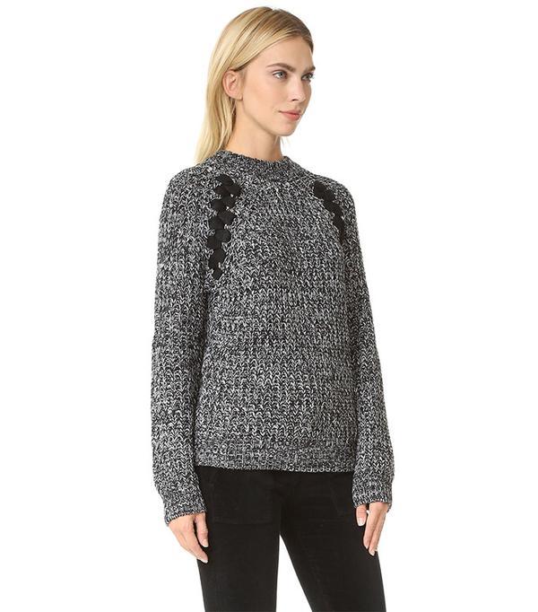 J.O.A. Lace-Up Sweater