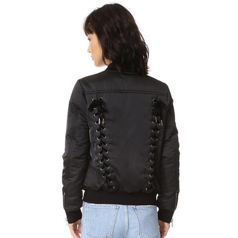 Lace-Up Bomber Jacket