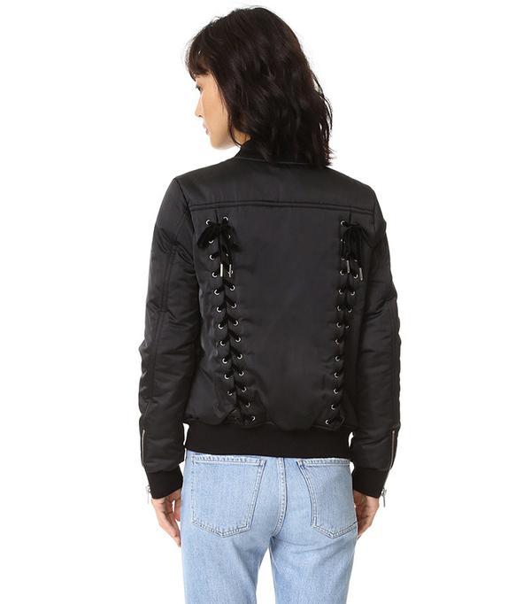 Pam & Gela Lace-Up Bomber Jacket