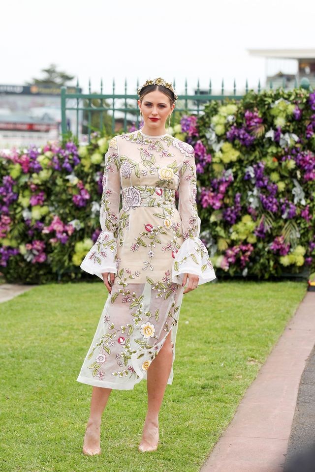 Jesinta Campbell wearing a floral Rachel Gilbert dress at the Caulfield Cup