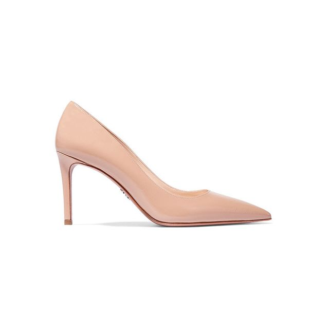 Prada Glossed Textured Pumps in Beige