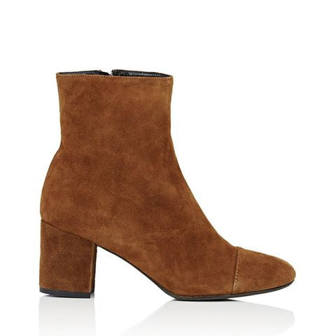 Cap-Toe Suede Ankle Boots