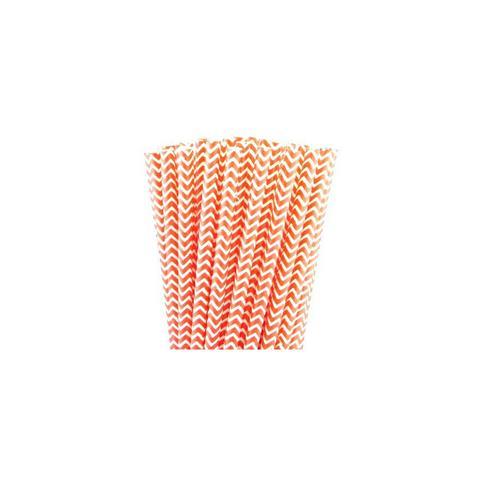Orange Chevron Straws