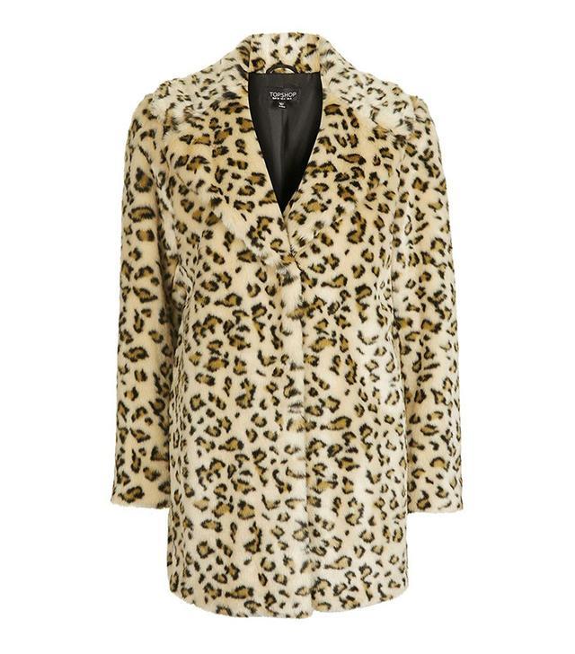 Topshop Casual Leopard Faux Fur Coat