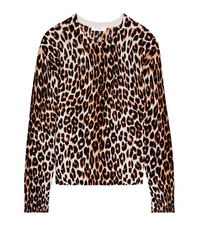 Equipment Shirley Leopard-Print Silk and Cashmere-Blend Sweater