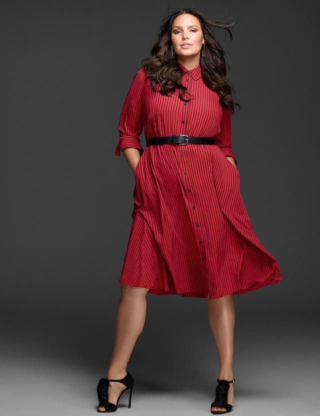 Glamour x Lane Bryant Fit & Flare Shirtdress