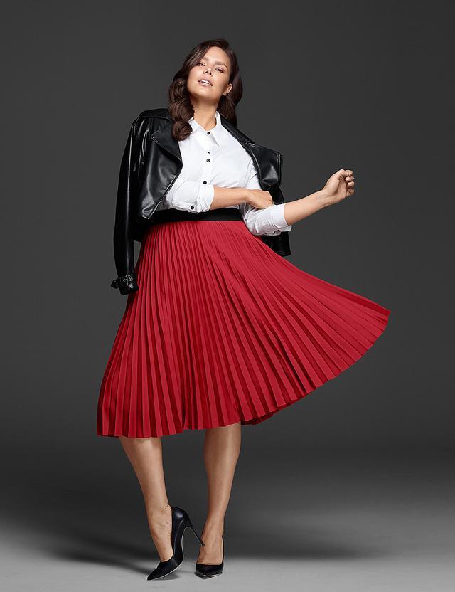 Glamour x Lane Bryant Pleated Skirt
