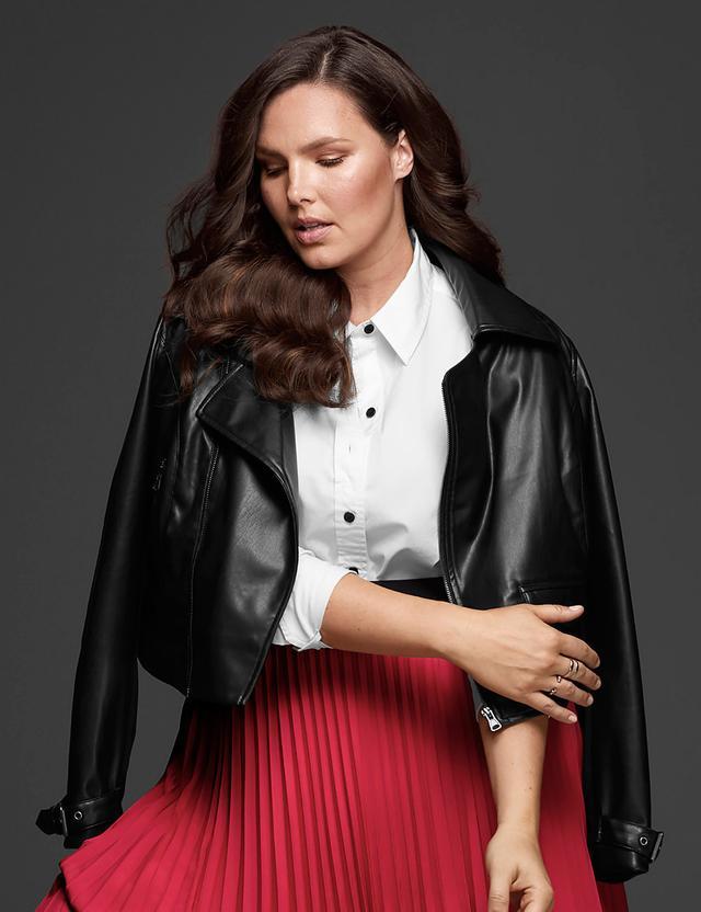 Glamour x Lane Bryant Faux Leather Moto Jacket