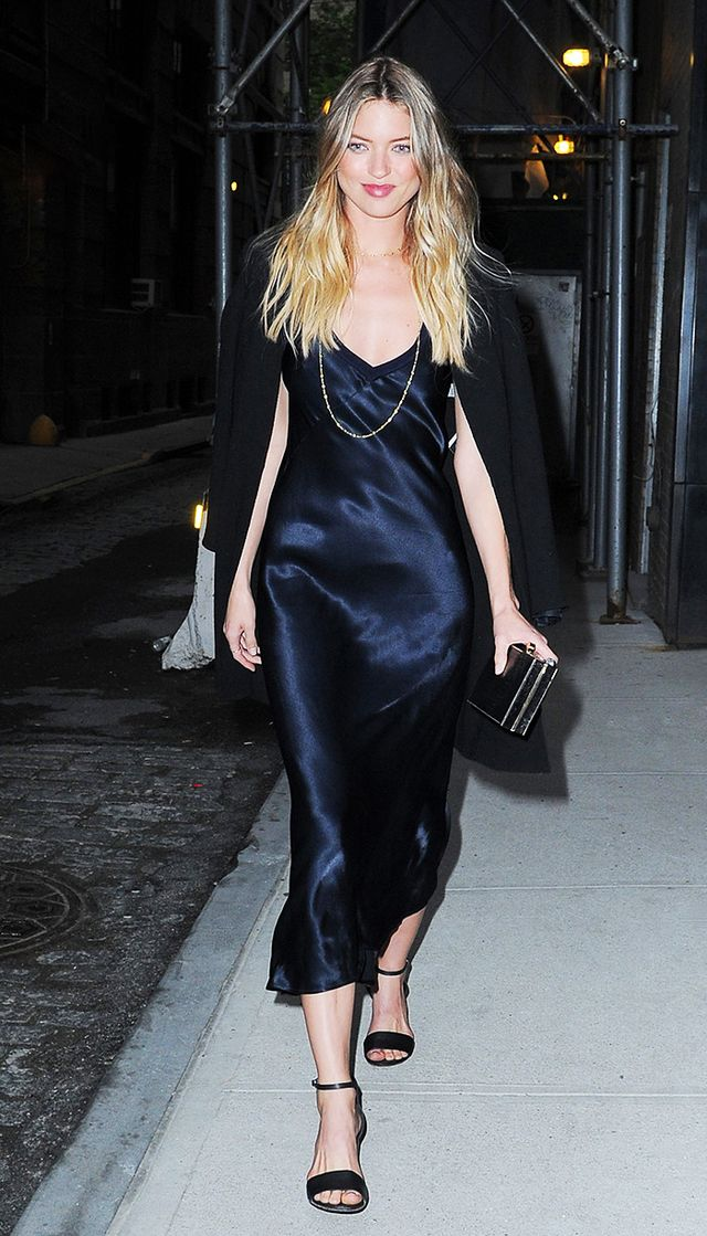 Martha Hunt leaving Spring Studios in satin slip dress, blazer, and heels