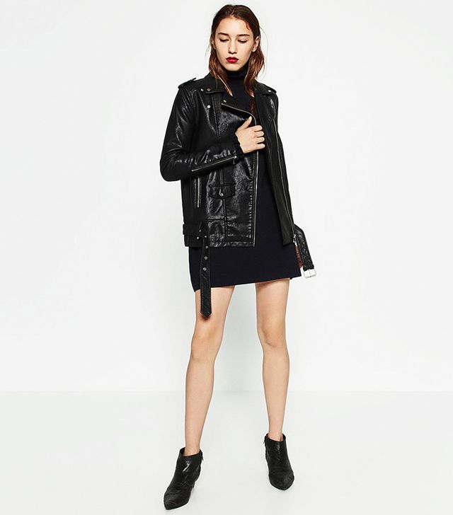 Zara Long Leather-Effect Jacket