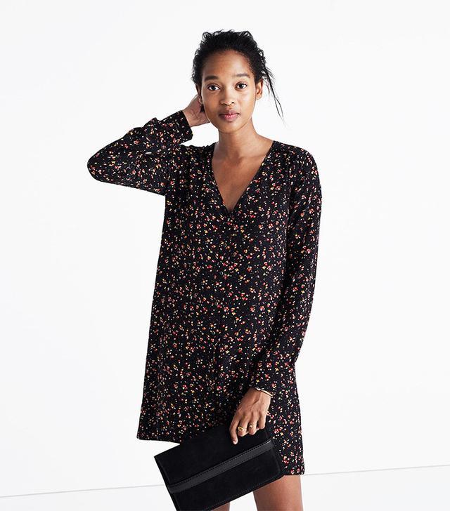 Madewell et Sézane Silk Elly Shirtdress in Floral Print