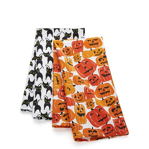 Halloween Cats & Pumpkins Dish Towels Set of Two