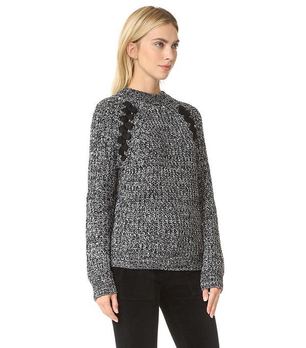 J.O.A Lace Up Sweater