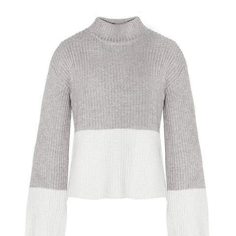 Color Block Grey Sweater