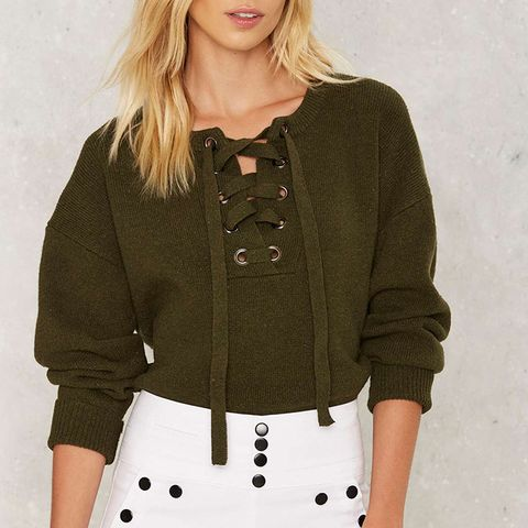 In the Thick of It Lace-Up Sweater