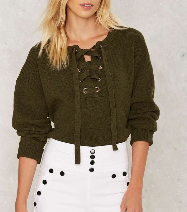 Nasty Gal In The Thick Of It Lace-Up Sweater