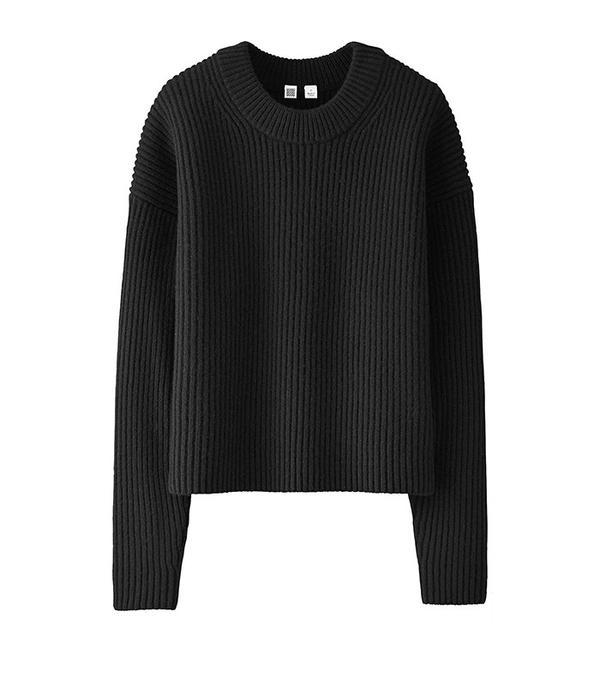 Uniqlo Women U Lambswool Cropped Crewneck Sweater