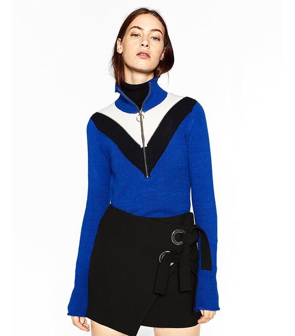 Zara Zipped High Neck Sweater