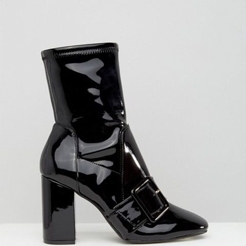 Patent Buckle Sock Boots